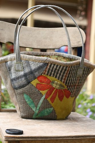 Maisy bag made out of  hand felted and dyed wool.