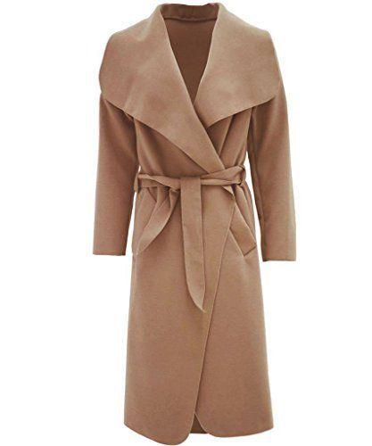 Long Trench Coat Women Ladies BlazerWaterfall Belted Oversized Italian Drape New