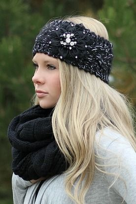 Black Knitted Embellished Headwrap Headband from NanaMacs Boutique. Soft and thick.