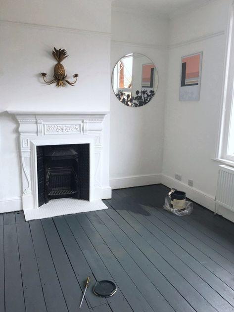 Diy Painted Hardwood Floors Painted Floorboards White Painted