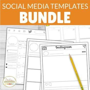 Social Media Template Bundle Instagram Snapchat Twitter With Digital Option Social Media Template Back To School Activities Get To Know You Activities