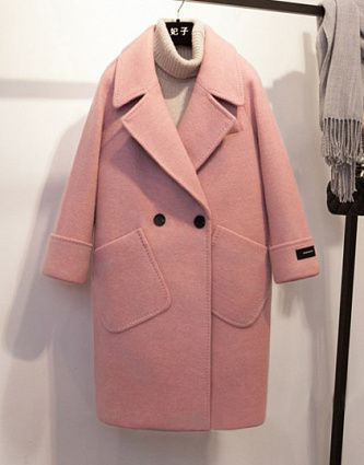 Spring Winter Wool Coat For Women 2018 jacket Casual Pink Coats Loose Turn-Down Collar Solid Wide-Waisted Long Wool Coat