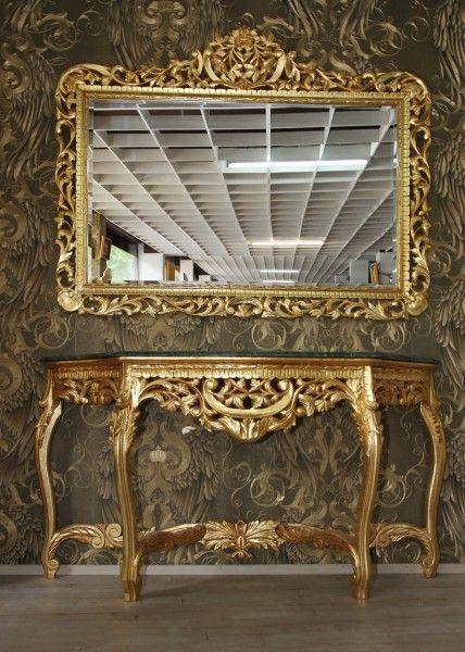 Riesige Casa Padrino Barock Spiegelkonsole Gold mit grüner