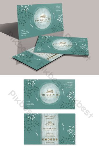 Romantic And Elegant Water Blue Branches Leaves Bronzing Business Card Psd Free Download Pikbest Business Card Psd Free Business Card Psd Business Card Template