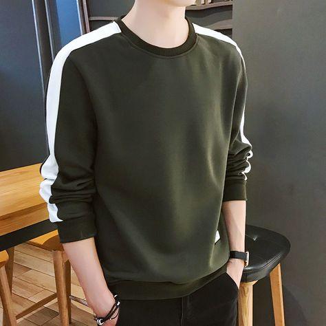 Men Hoodie Long Sleeve Winter Solid Color Army Green Sweatshirt SF – loveitbabe