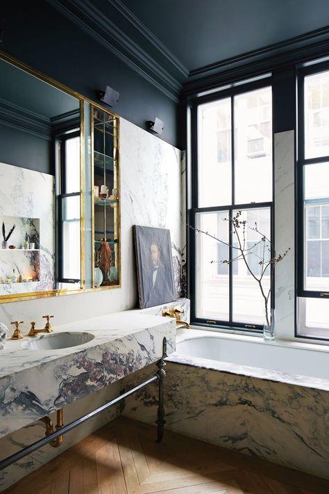 Jenna Lyon& new Soho Loft (habitually chic), # habitual . - Jenna Lyon& new Soho Loft (habitually chic), # habitual - Home, Cheap Home Decor, Soho Apartment, Bathroom Decor, Lyon Homes, Soho Loft, Modern Victorian, Bathroom Design, Celebrity Houses