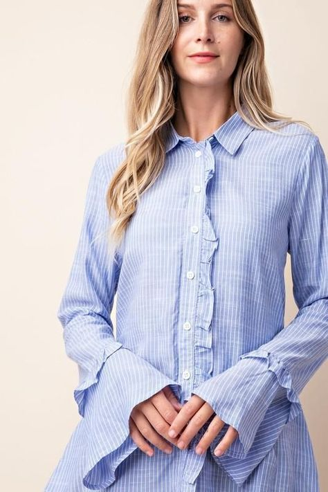 Need a cute work shirt? This pretty little button down is both feminine and menswear cool — the perfect combo for over 40 style. Check out Cool Cover Shop, a fashion over 40 clothing store. #fashionover40