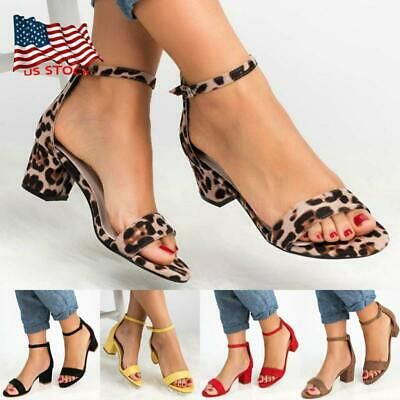 Womens Ankle Strap Sandals Open Peep Toe Mid Block Heel Party Shoe Boots Size