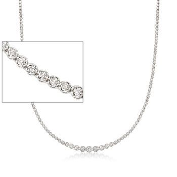3 00 Ct T W Graduated Diamond Tennis Necklace In 14kt White Gold Diamond Tennis Necklace Tennis Necklace White Gold