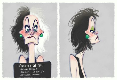 Villain Mugshots Cruella DeVil by HaaappyAccidents on Etsy