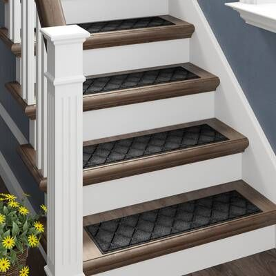 New Amsterdam Black Stair Treads In 2020 Diy Stairs Stair | Black Carpet Stair Treads | Bullnose | Slip Resistant | Interior | Gray | Indoor