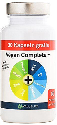 Perfekte Ergänzung zu veganer Ernährung!  Vegan Complete+ Formel: Monatspackung mit den wichtigsten Vitaminen und Mineralien in einer Kapsel vereint: VitaminB12, Vitamin D3, Soja-Lecithin, Jod, Calcium, Omega3, Eisen und Zink. Speziell entwickelt zur Begleitung einer veganen Ernährung! Nur 2 Kapseln täglich. Zur Markteinführung 30 Kapseln gratis! Valuelife http://www.amazon.de/dp/B00RBS7T58/ref=cm_sw_r_pi_dp_DM40ub0ZCFWKR
