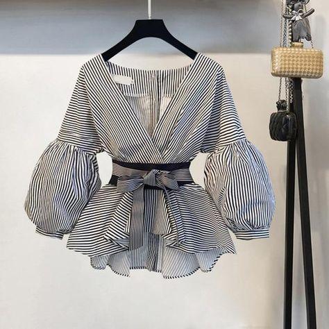Korean Style Lantern Sleeve Blouse - picture color 2 / XL