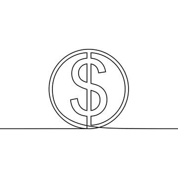 Dollar Coin One Line Drawing Vector Coin Bank Treasure Png And Vector With Transparent Background For Free Download Line Drawing Minimalist Drawing Line Art Drawings