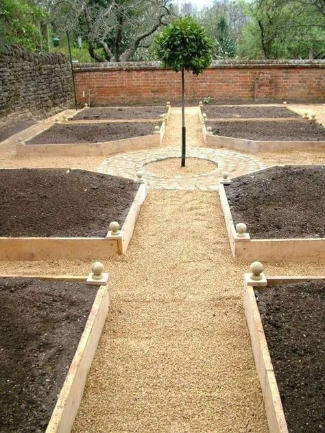 There are many benefits to using raised vegetable garden beds in your garden. For starters, elevated garden beds are easier on your back and knees because they require less bending, kneeling and crawling than . Diy Raised Garden, Vegetable Garden Design, Backyard Landscaping, Diy Garden, Outdoor Gardens, Garden Planning, Garden Design, Garden Landscaping, Cottage Garden