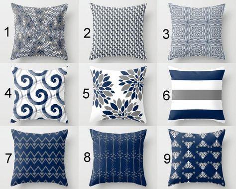 Cuscini Bianchi E Blu.Throw Pillow Cover Progetta Nel Mix E Match Stampe I Colori Sono
