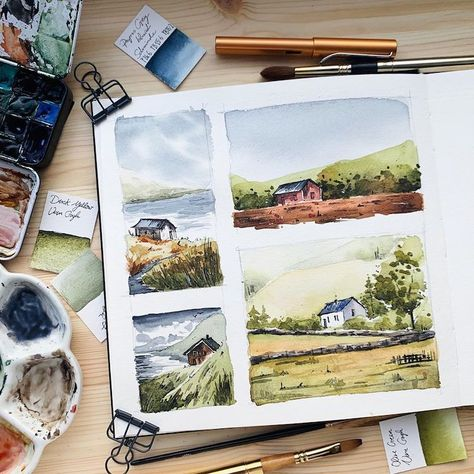 Artist Shares Beautiful Watercolor Studies of Landscapes From Her Sketchbooks – Crazy Hippo Watercolor Sketchbook, Watercolor Artists, Watercolor Landscape, Watercolor Illustration, Watercolor Paintings, Watercolours, Gouache Painting, Painting & Drawing, Arte Sketchbook