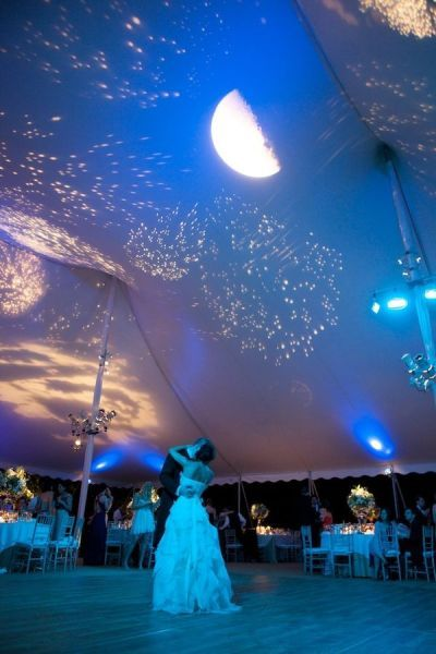Creating a night sky for the first dance by projecting stars and the moon onto the roof of the wedding tent. Amazing lighting idea!
