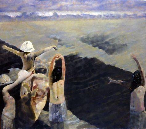 """Renzo Vespignani, """"Colonia a Cesenatico"""" or """"Le spiagge del '39"""", 1974."""