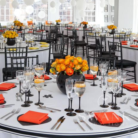 Planned Designed Produced By Swankproductions Clean Modern Rooftop Wedding At Studio 450 Orange Yellow Black White Reception Decor Tab