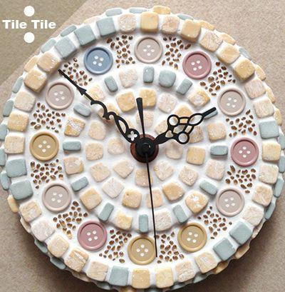 天然石タイルの壁掛け時計をつくる講座 壁掛け時計 タイル タイルアート