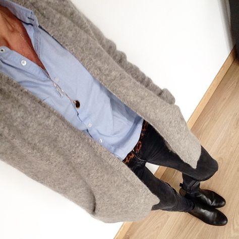 the blue shirt, cozy cardigan combo