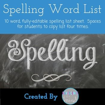 Blank 10-word list Perfect for spelling or vocabulary listsIn