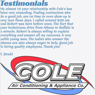 Customer Testimonial For Cole Air Conditioning Appliance Company My Almost 10 Year Relationship With Cole S H With Images Customer Testimonials Testimonials Customer