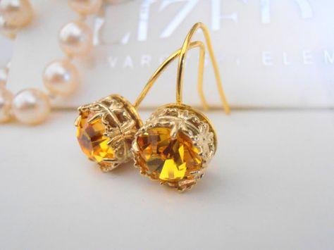 9ea4cc405 Swarovski Earrings, Art Deco, Wedding, Dangle, Light Topaz, Yellow Crystal,  Leverback Gold Plated Filigree Setting, Vintage Jewelry