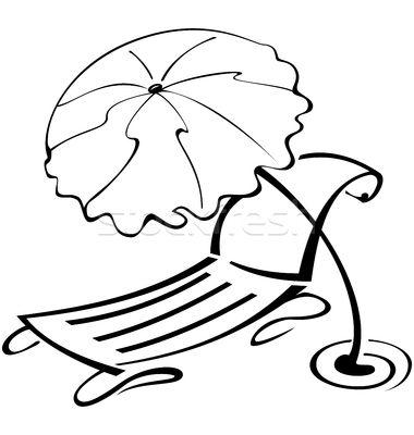 Black And White Contour Umbrella And Beach Chair Vector Illustration C Zebra Finch