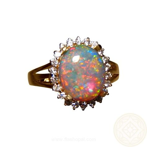 PSRINGS Rainbow Ball Opal Ring Black Gold Filled Jewelry Natural Stone Wedding Rings Merk
