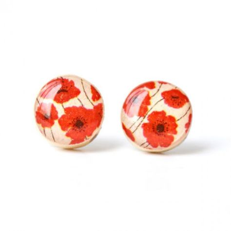 Red Poppy Studs made from fallen tree branches.