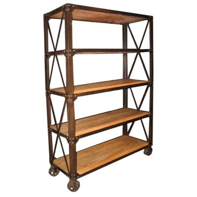 802 Bookshelf With Wheels Dimensions 53 X 19 X 78 H Metal Bookcase Vintage Industrial Furniture Industrial Bookcases