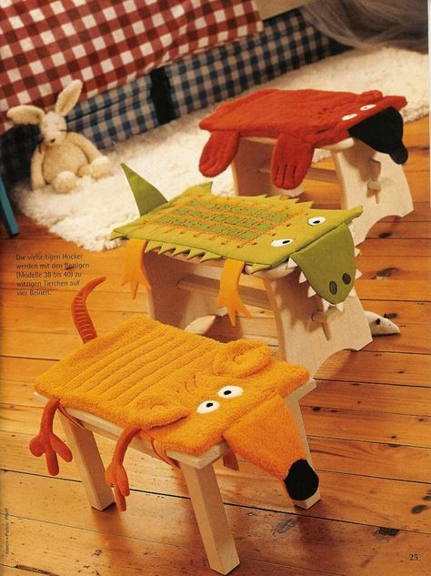 Stool covers, with patterns