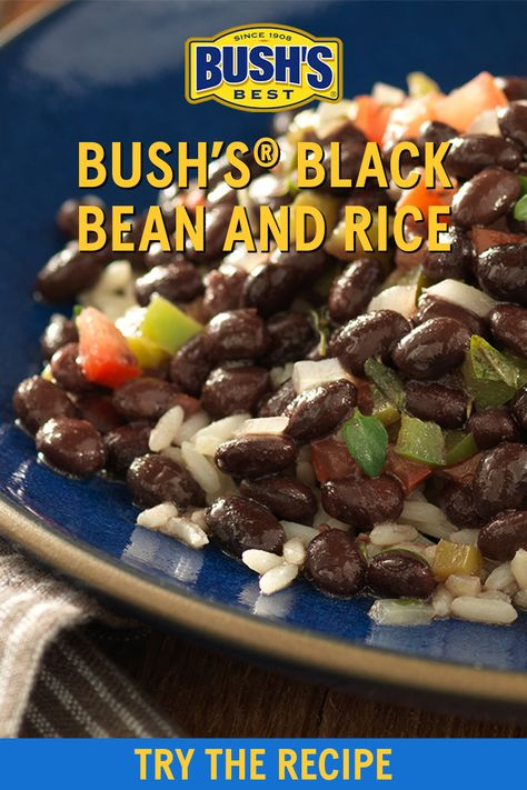 Every main course needs an easy, comforting side dish. Enter: rice and beans! This recipe also acts as a great base for a vegetarian burrito bowl. Check out the recipe and enjoy! ​ Ingredients:​ 1 can (15 oz) BUSH'S® Black Beans, drain and reserve juice  1 Tbsp olive oil  3/4 cup finely chopped onion  1/2 cup finely chopped green pepper  1 cup diced tomatoes  1/2 tsp thyme  1 tsp garlic salt  3 Tbsp cider vinegar  1/2 tsp hot pepper sauce  2 cup cooked rice ​ Vegetarian Burrito, Going Vegetarian, Bean Recipes, Low Carb Recipes, Cooking Recipes, Mexican Dishes, Mexican Food Recipes, Lower A1c, Black Beans And Rice