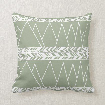Mountains And Tribal Motif White On Sage Green Throw Pillow Green Throw Pillows Pillows Green Pillows