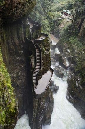 The staircase at Pailon del Diablo, Baños, Ecuador. - #Banos #del #Diablo #Ecuador #Pailon #staircase