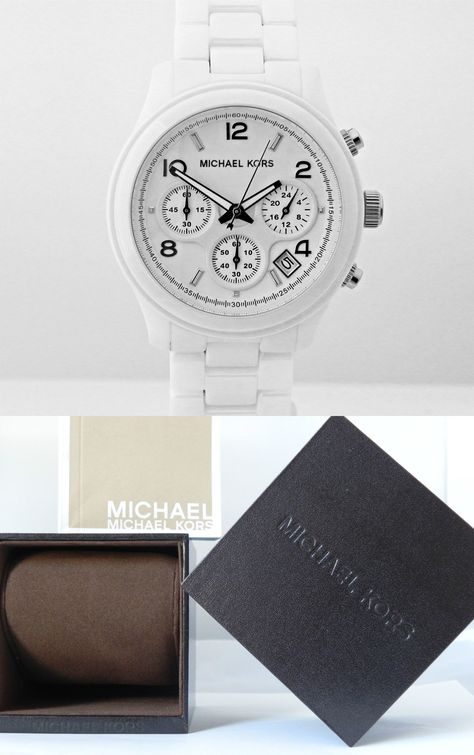 aa12049561c1 Parts and Accessories 51021  Michael Kors Women S Mk5161 Chronograph Runway  White Ceramic 38 Mm Watch -  BUY IT NOW ONLY   182 on eBay!