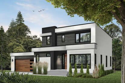 House Plan 6146 00390 Modern Plan 1 899 Square Feet 3 Bedrooms 2 5 Bathrooms In 2020 Contemporary House Exterior House Designs Exterior Contemporary House Design