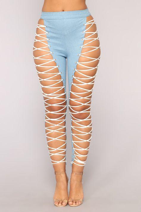 Wild Thang Lace Up Pants - Light Blue Wash – Fashion Nova
