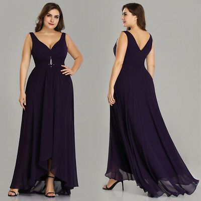 Ever-Pretty US Plus Formal Long V-neck Gown Backless Holiday Dress A-Line 09983