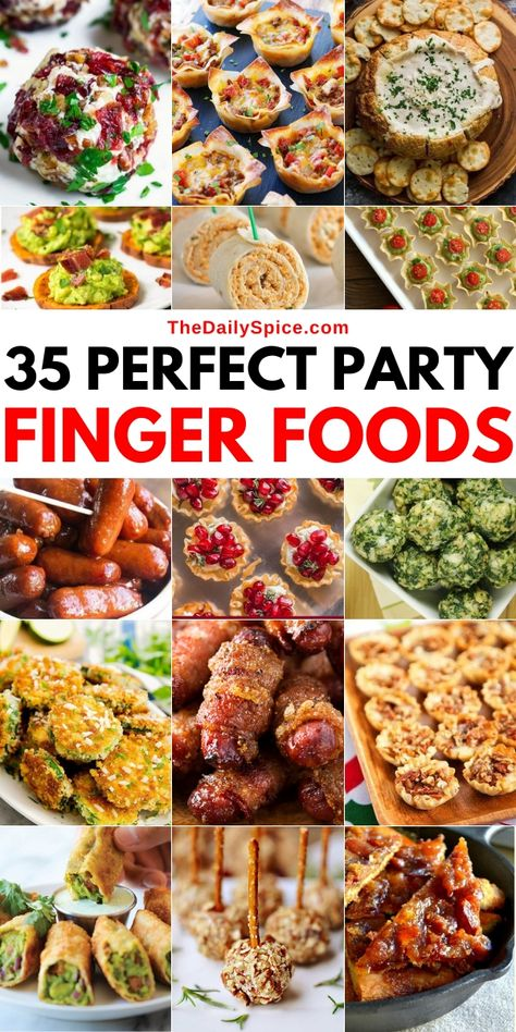 35 Of the very best party finger foods and small bite party appetizers to feed a crowd! Wow your party guests with these easy and tasty party snacks! Party Finger Foods, Finger Food Appetizers, Holiday Appetizers, Yummy Appetizers, Appetizer Recipes, Holiday Recipes, Party Appetizers, Party Snacks, Food For Superbowl Party