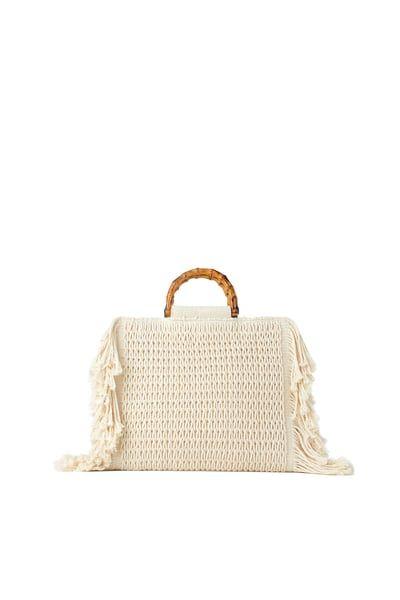 Zara Female Fringed Fabric Shopper Ecru M Fabric Tote Bags Fabric Shopper Fabric Tote
