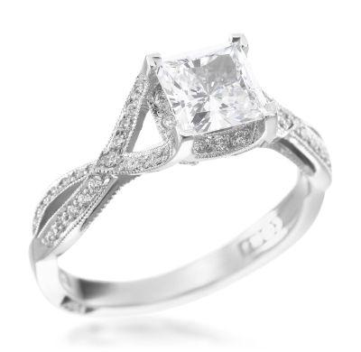 Tacori - Contemporary Crescent Platinum 0.22ctw Diamond Princess Setting (Available at Michael C. Fina)