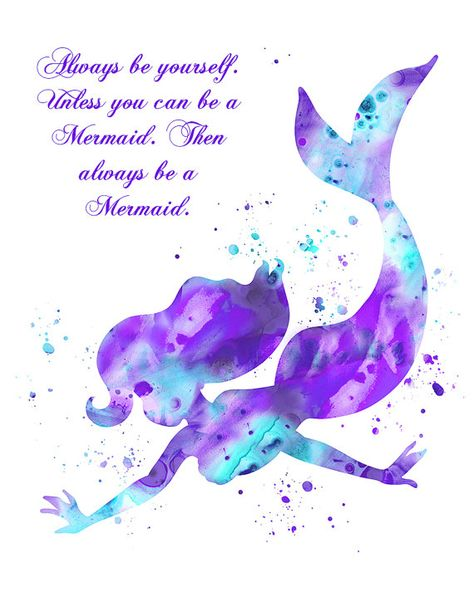 Aqua Lavender Mermaid art print with a quote by FluidDiamondArt