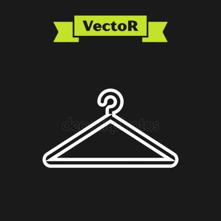 White Line Hanger Wardrobe Icon Isolated On Black Background