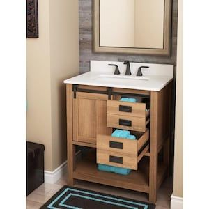 Style Selections 30 In Brown Single Sink Bathroom Vanity With White Engineered Stone Top Lowes Com In 2020 Single Sink Bathroom Vanity Bathroom Vanity Bathroom Sink Vanity