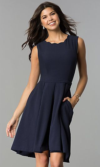 Navy Blue Wedding Guest Party Dress With Pockets Navy Dress Outfits Navy Party Dress Dresses