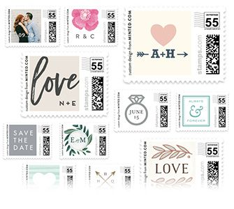 Custom Postage Wedding Stamps  Wedding invitation postage