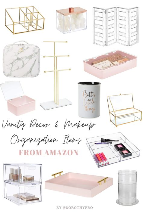 "The Best Vanity Organization and Makeup Storage Solutions Welcome to part 1 of my spring cleaning series called ""Let's G Makeup Vanity Decor, Makeup Room Decor, Makeup Vanities, Makeup Storage Gold, Diy Makeup Chair, Makeup Desk Ikea, Diy Vanity Storage, Organize Vanity, Cosmetic Storage"